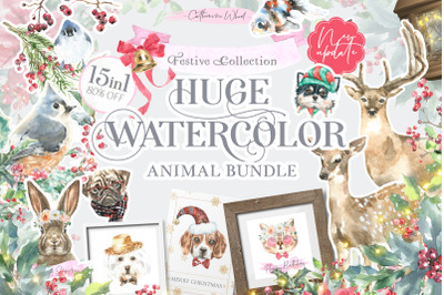 15 in 1 Watercolor Animals Bundle Sale+Bonus