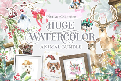 Watercolor Animals Bundle Sale+Free 13 in 1