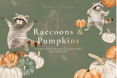 Pumpkins & Raccoons Graphic set