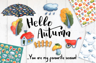 Hello Autumn Watercolor Clipart And Patterns