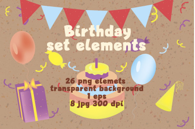 set birhday elements illustration