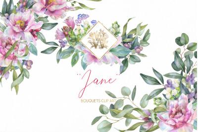 Watercolor Pink Peonies border Clipart Wedding peony floral arrangemen