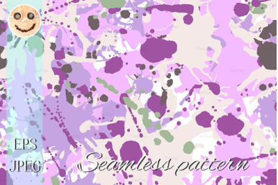 Lilac beige green ink paint splashes seamless pattern
