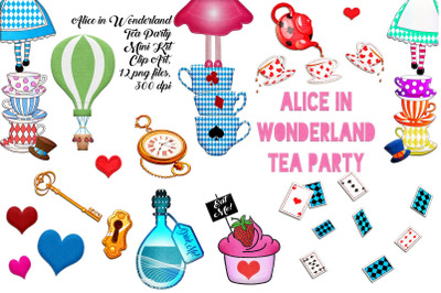 Alice In Wonderland Tea Party Mini Kit ClipArt