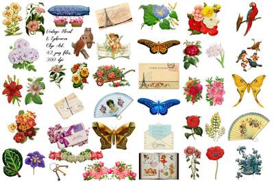 Vintage Floral and Ephemera Clip Art