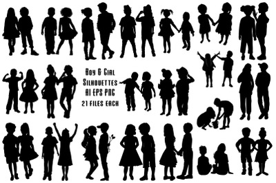 Little Boy and Girl Couple Silhouettes AI EPS PNG
