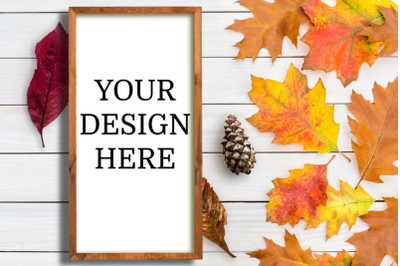 Fall Wooden Sign Vertical Mock up - PNG