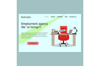 Employment agency landing page. We hiring