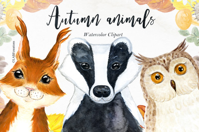 Autumn animals. Watercolor clipart.