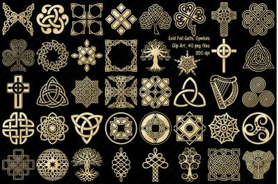 Gold Foil Celtic Knots, Symbols, Crosses Clip Art
