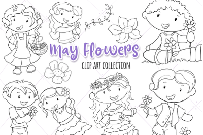 May Flowers Digital Stamps