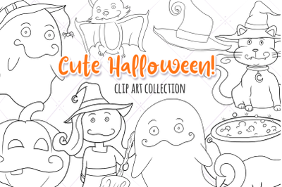 Cute Halloween Witches & Ghosts Digital Stamps