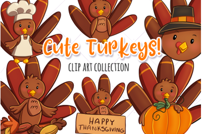Cute Turkeys Clip Art Collection