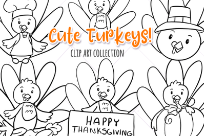 Cute Turkeys Digital Stamps