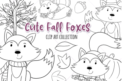 Cute Fall Foxes Digital Stamps