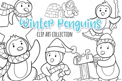 Winter Penguins Digital Stamps