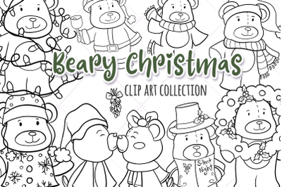 Beary Christmas Digital Stamps