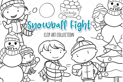 Snowball Fight Digital Stamps