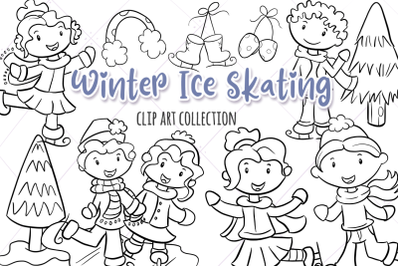 Winter Ice Skating Digital Stamps