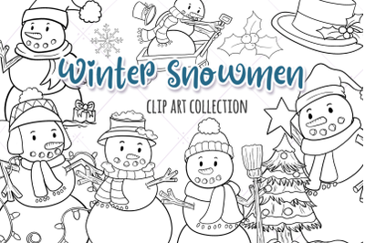 Winter Snowmen Digital Stamps