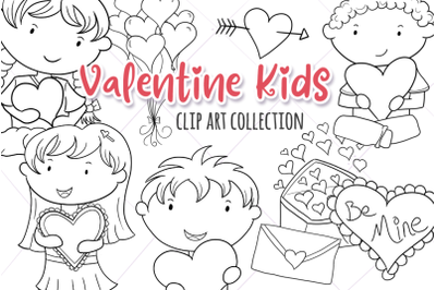 Valentine Kids Digital Stamps