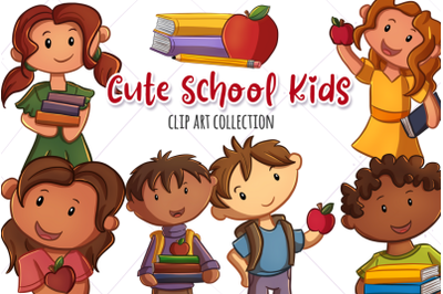 Cute School Kids Clip Art Collection