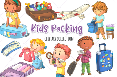 Kids Packing Clip Art Collection