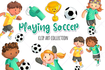 Playing Soccer Clip Art Collection
