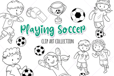 Playing Soccer Digital Stamps