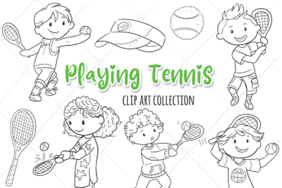 Playing Tennis Digital Stamps