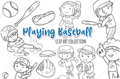 Playing Baseball Digital Stamps