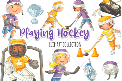 Playing Hockey Clip Art Collection
