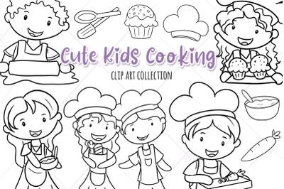 Cute Kids Cooking Digital Stamps