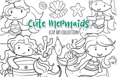Cute Mermaids Digital Stamps