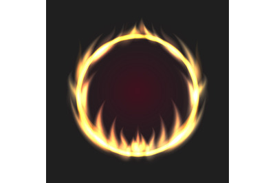 Abstract Ring of Fire Flame on Black Background. Vector illustration