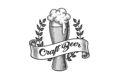 Craft Beer Emblem Drawn in Engraving Style.