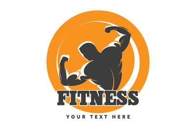 Posing Bodybuilder Fitness Emblem.