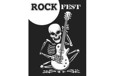 Skeleton Plays Guitar Rock Festival Poster.