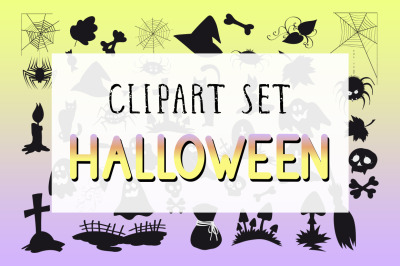 Vector set of Halloween clipart. Colored and monochrome objects