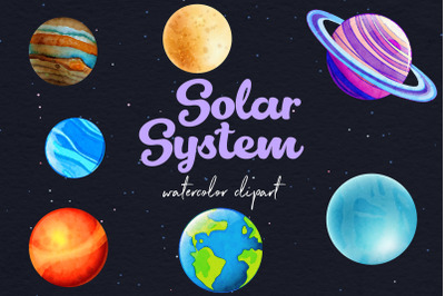 Watercolor Planets Clipart
