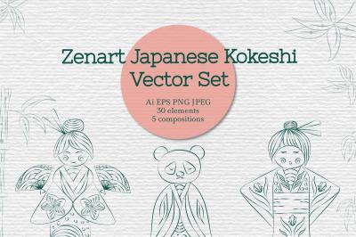 Zenart Japanese Kokeshi Vector Set