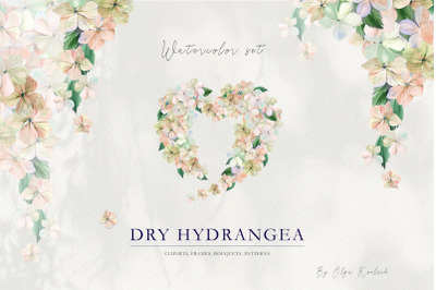 Dry Hydrangea Watercolor Set