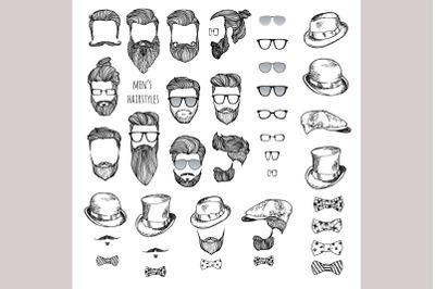 Hairstyles, beards, glasses