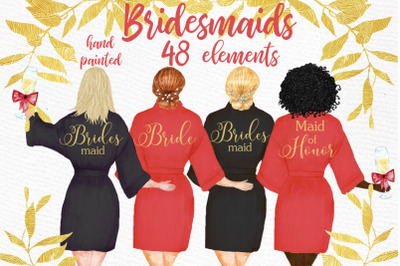 Bridesmaid clipart, WEDDING ROBES CLIPRT, Bachelorette Party