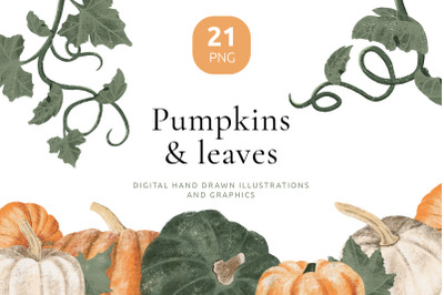 Hand drawn pumpkin cliparts for autumn crafts