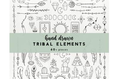 68 tribal elements - boho clipart, arrow clipart, feather cactu