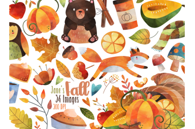 Watercolor Fall Clipart