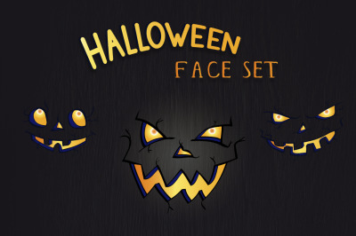 Halloween eyes and smiles set. Vector.