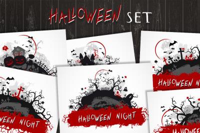 Set of halloween illustrations. Vector