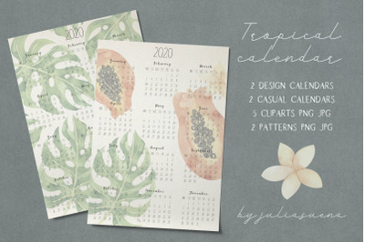 Printable tropical calendar 2020